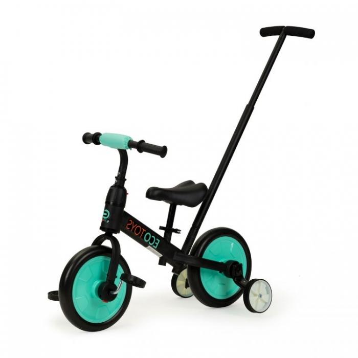 Bicicleta cu pedale si roti ajutatoare 3 in 1 Ecotoys YM-BB-12 Blue