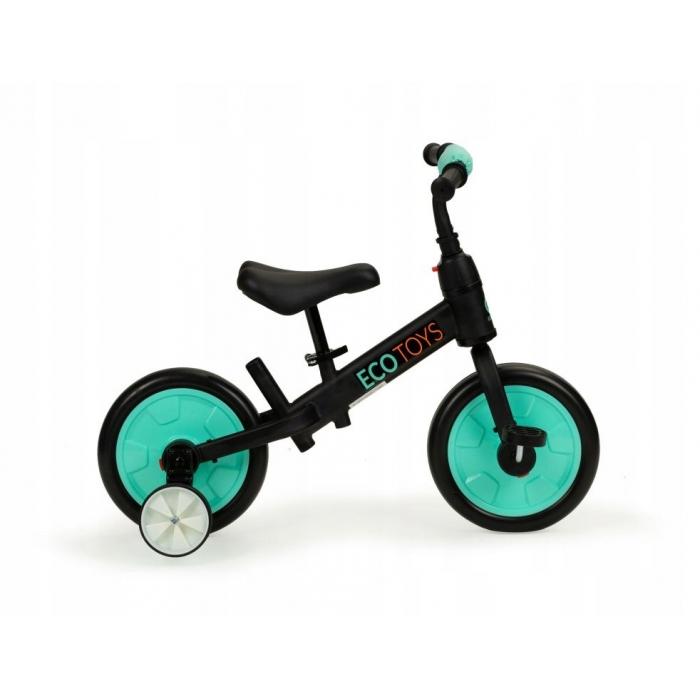 Bicicleta cu pedale si roti ajutatoare 3 in 1 Ecotoys YM-BB-12 Blue - 1