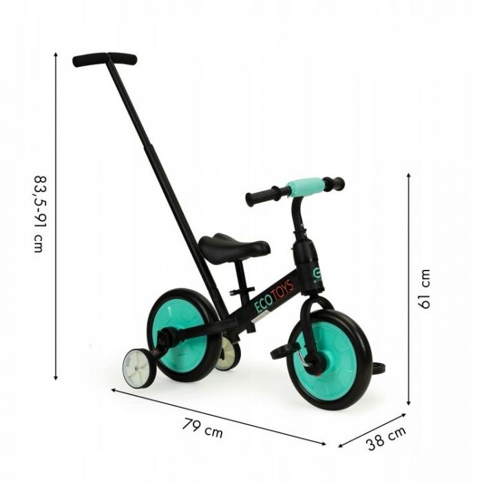 Bicicleta cu pedale si roti ajutatoare 3 in 1 Ecotoys YM-BB-12 Blue - 2