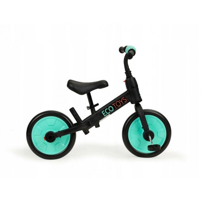 Bicicleta cu pedale si roti ajutatoare 3 in 1 Ecotoys YM-BB-12 Blue - 3