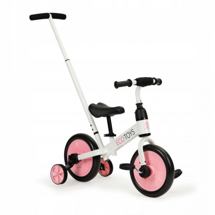 Bicicleta cu pedale si roti ajutatoare 3 in 1 Ecotoys YM-BB-12 Pink - 7