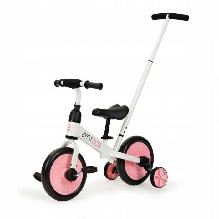 Bicicleta cu pedale si roti ajutatoare 3 in 1 Ecotoys YM-BB-12 Pink
