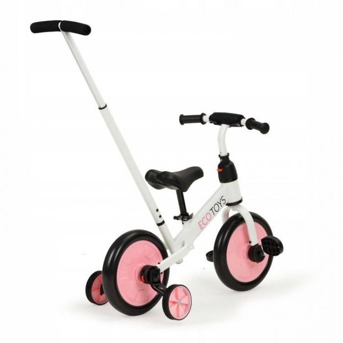 Bicicleta cu pedale si roti ajutatoare 3 in 1 Ecotoys YM-BB-12 Pink - 1
