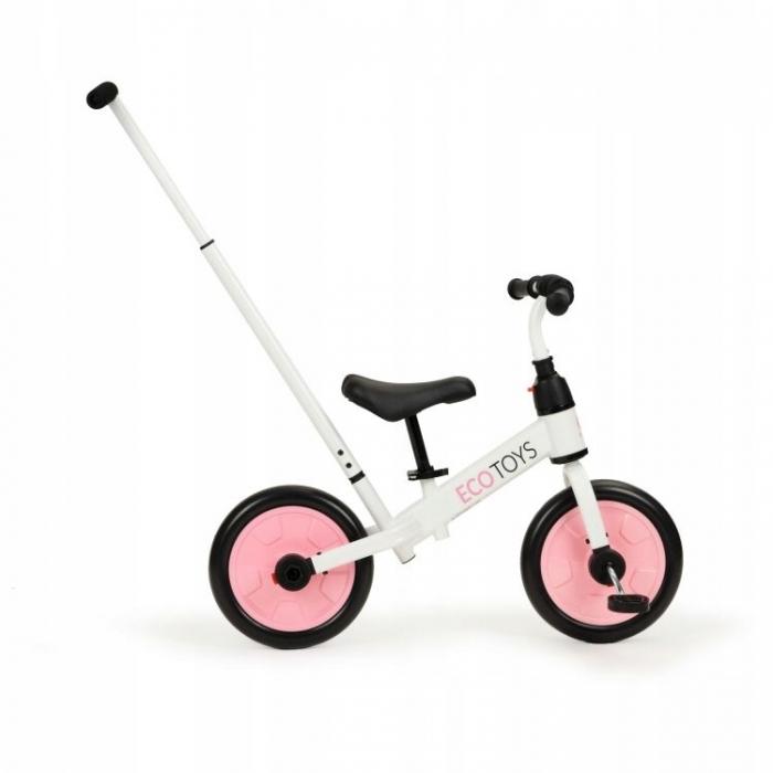 Bicicleta cu pedale si roti ajutatoare 3 in 1 Ecotoys YM-BB-12 Pink - 2