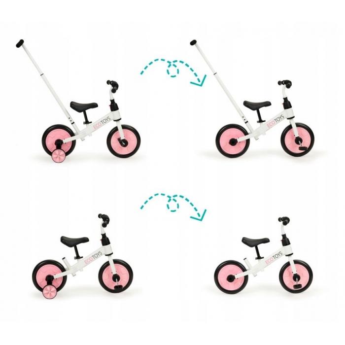 Bicicleta cu pedale si roti ajutatoare 3 in 1 Ecotoys YM-BB-12 Pink - 3