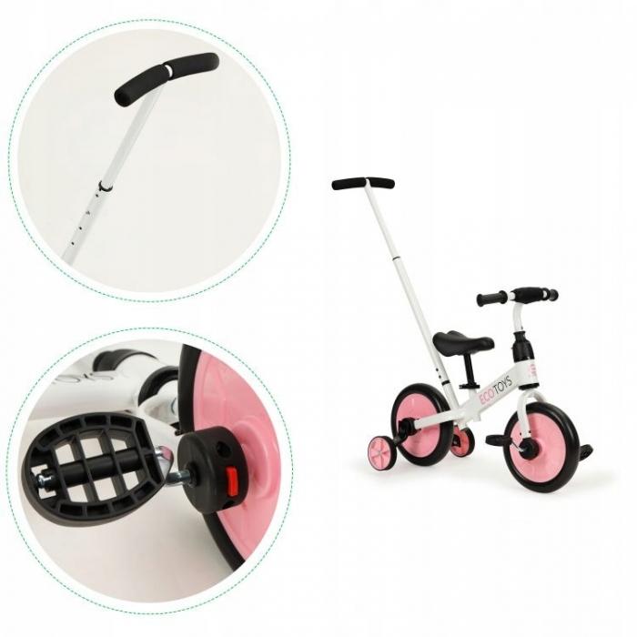 Bicicleta cu pedale si roti ajutatoare 3 in 1 Ecotoys YM-BB-12 Pink - 5