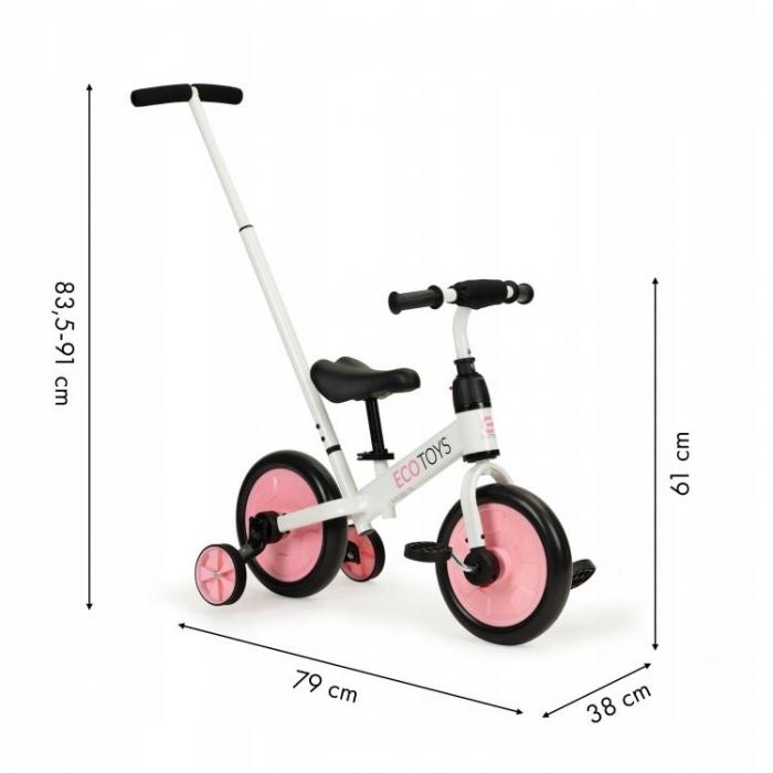 Bicicleta cu pedale si roti ajutatoare 3 in 1 Ecotoys YM-BB-12 Pink - 6