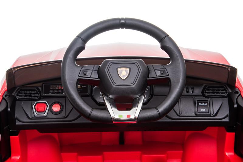 Masinuta electrica 12V Lamborghini Urus Rosu cu scaun de piele si roti EVA - 3