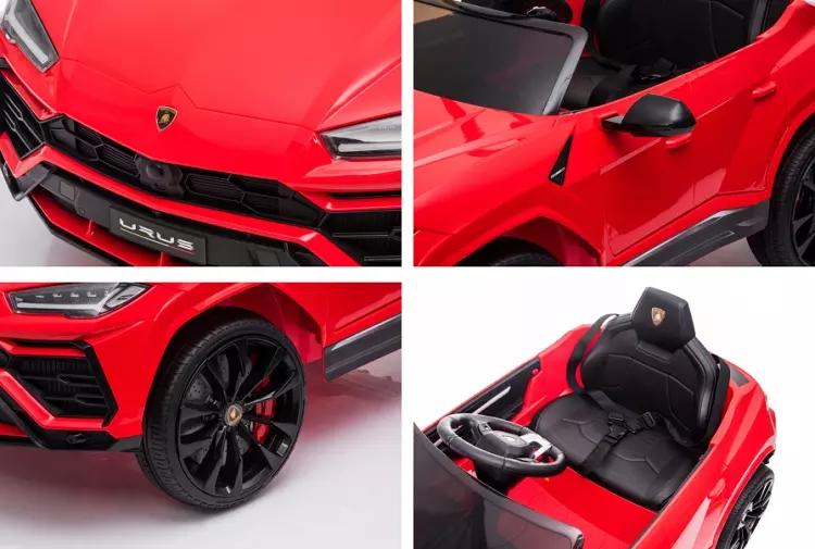 Masinuta electrica 12V Lamborghini Urus Rosu cu scaun de piele si roti EVA - 5