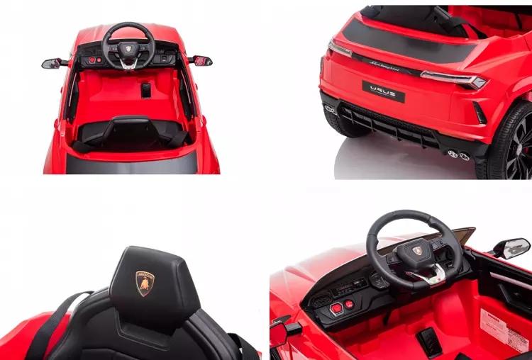 Masinuta electrica 12V Lamborghini Urus Rosu cu scaun de piele si roti EVA - 7