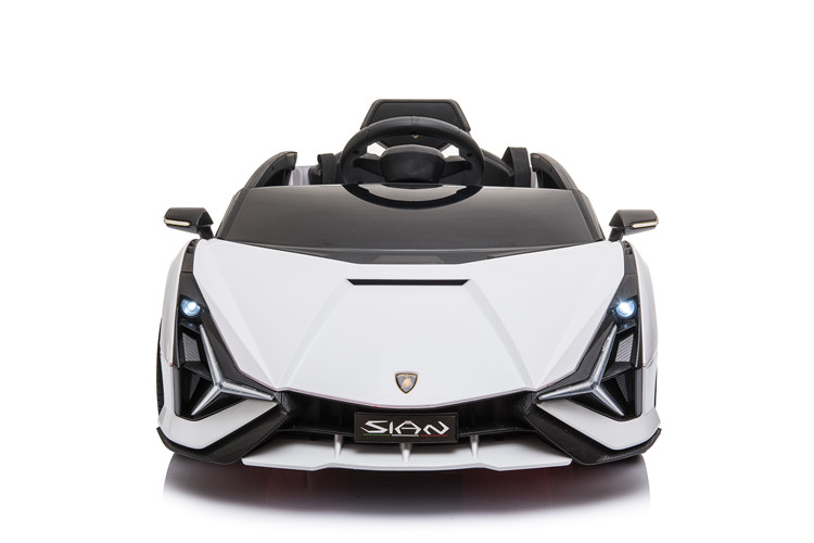 Masinuta electrica 12V cu roti EVA si scaun din piele Lamborghini Sian Alb
