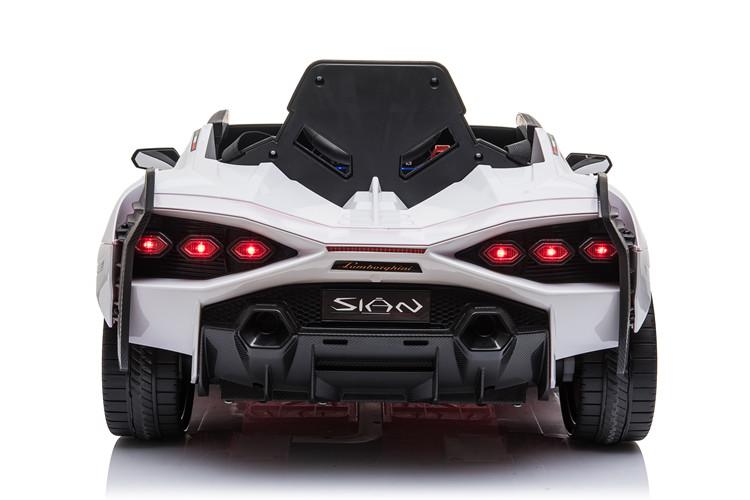 Masinuta electrica 12V cu roti EVA si scaun din piele Lamborghini Sian Alb - 1