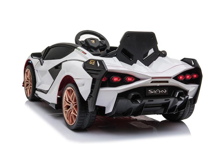 Masinuta electrica 12V cu roti EVA si scaun din piele Lamborghini Sian Alb - 2