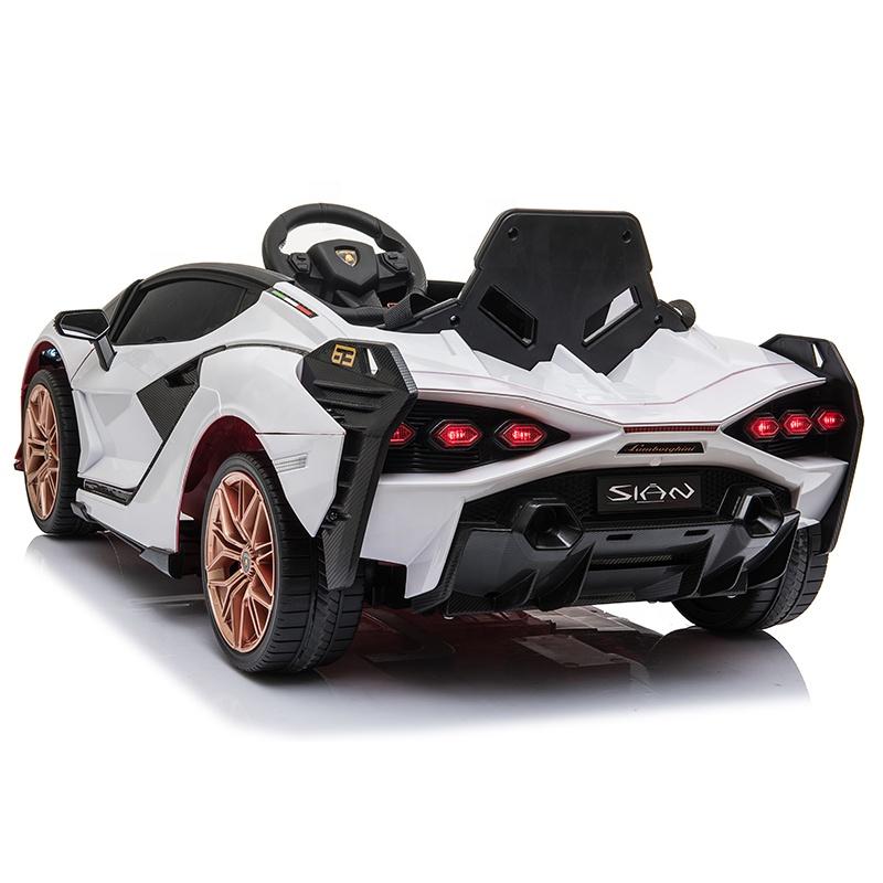 Masinuta electrica 12V cu roti EVA si scaun din piele Lamborghini Sian Alb - 3