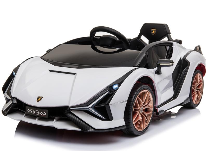 Masinuta electrica 12V cu roti EVA si scaun din piele Lamborghini Sian Alb - 4