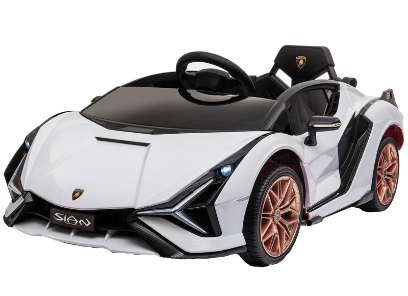 Masinuta electrica 12V cu roti EVA si scaun din piele Lamborghini Sian Alb - 7
