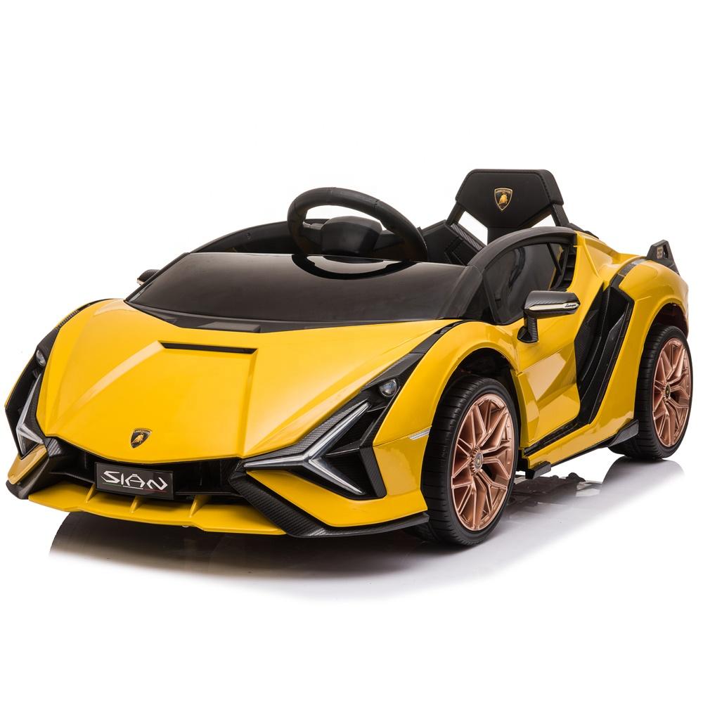 Masinuta electrica 12V cu roti EVA si scaun din piele Lamborghini Sian Galben