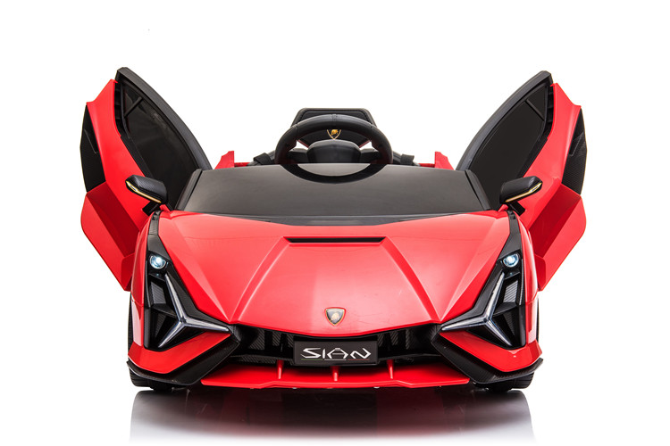 Masinuta electrica 12V cu roti EVA si scaun din piele Lamborghini Sian Rosu
