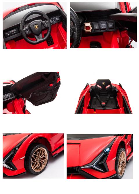 Masinuta electrica 12V cu roti EVA si scaun din piele Lamborghini Sian Rosu - 1