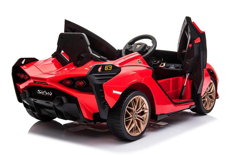 Masinuta electrica 12V cu roti EVA si scaun din piele Lamborghini Sian Rosu - 2