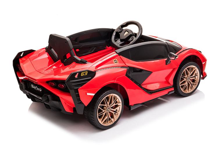 Masinuta electrica 12V cu roti EVA si scaun din piele Lamborghini Sian Rosu - 3