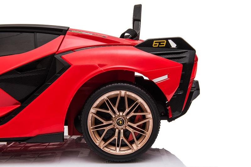 Masinuta electrica 12V cu roti EVA si scaun din piele Lamborghini Sian Rosu - 4