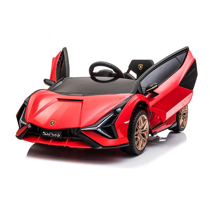 Masinuta electrica 12V cu roti EVA si scaun din piele Lamborghini Sian Rosu - 8
