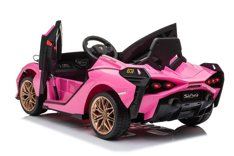 Masinuta electrica 12V cu roti EVA si scaun din piele Lamborghini Sian Roz - 3