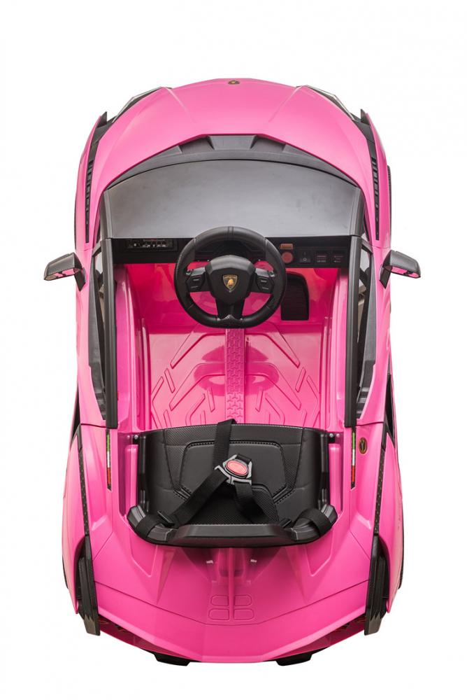Masinuta electrica 12V cu roti EVA si scaun din piele Lamborghini Sian Roz - 6