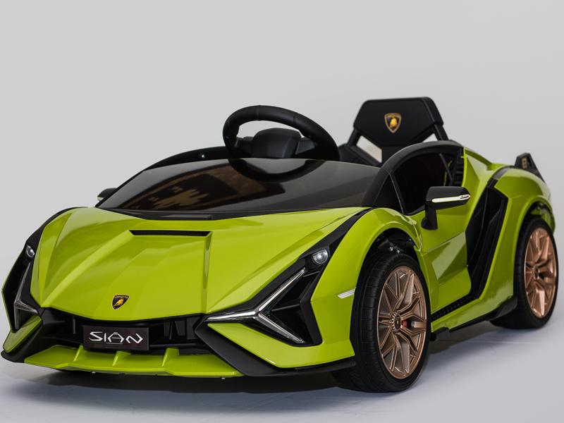 Masinuta electrica 12V cu roti EVA si scaun din piele Lamborghini Sian Verde