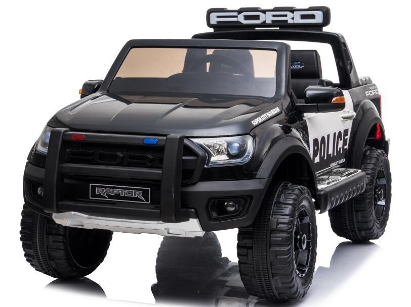 Masinuta electrica 12V cu scaun din piele si roti EVA Ford Ranger Raptor Police Negru