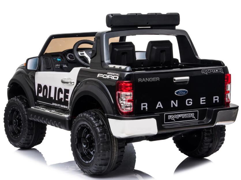 Masinuta electrica 12V cu scaun din piele si roti EVA Ford Ranger Raptor Police Negru - 1