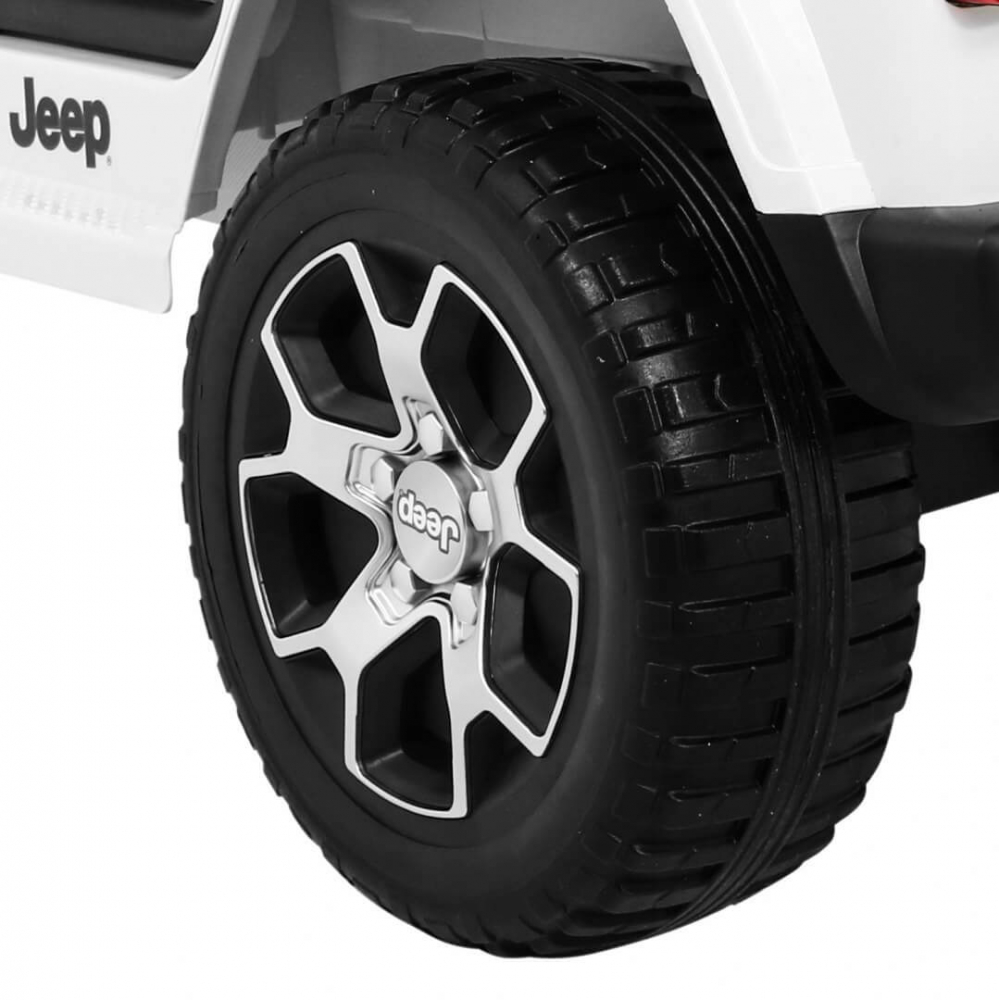 Masinuta electrica Jeep Wrangler Rubicon Alb 4x4 cu telecomanda si scaun piele