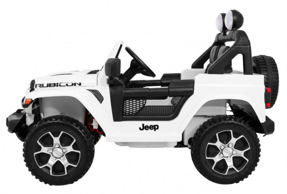 Masinuta electrica Jeep Wrangler Rubicon Alb 4x4 cu telecomanda si scaun piele - 1