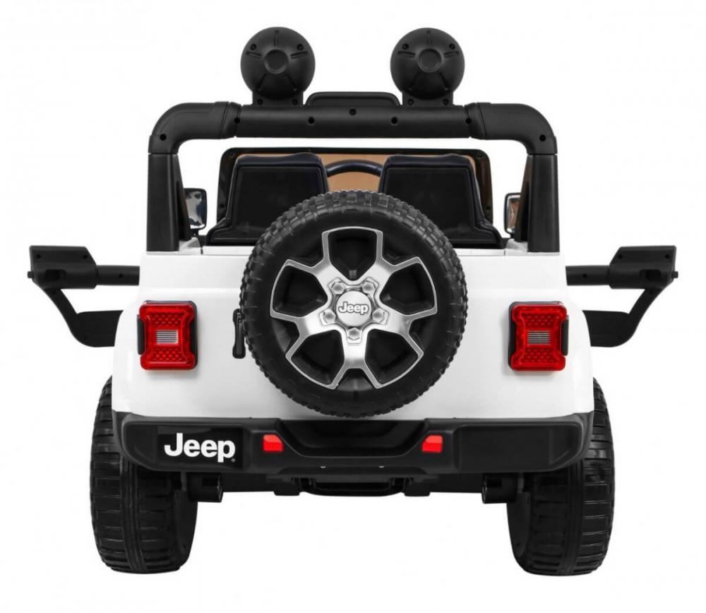 Masinuta electrica Jeep Wrangler Rubicon Alb 4x4 cu telecomanda si scaun piele - 3