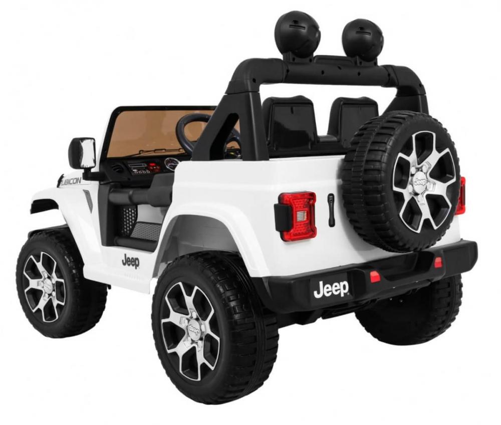 Masinuta electrica Jeep Wrangler Rubicon Alb 4x4 cu telecomanda si scaun piele - 4