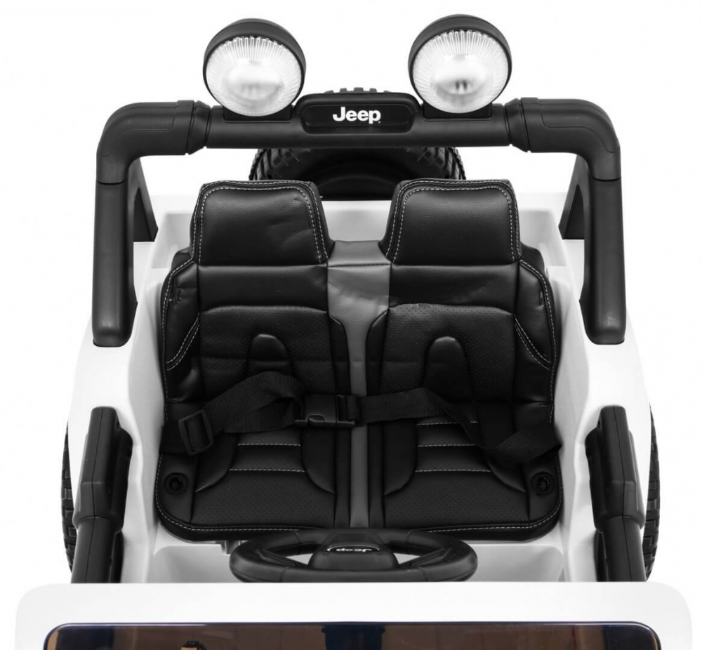 Masinuta electrica Jeep Wrangler Rubicon Alb 4x4 cu telecomanda si scaun piele - 5
