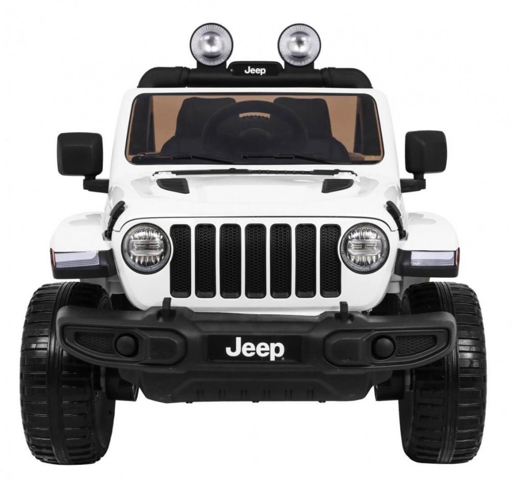 Masinuta electrica Jeep Wrangler Rubicon Alb 4x4 cu telecomanda si scaun piele - 7