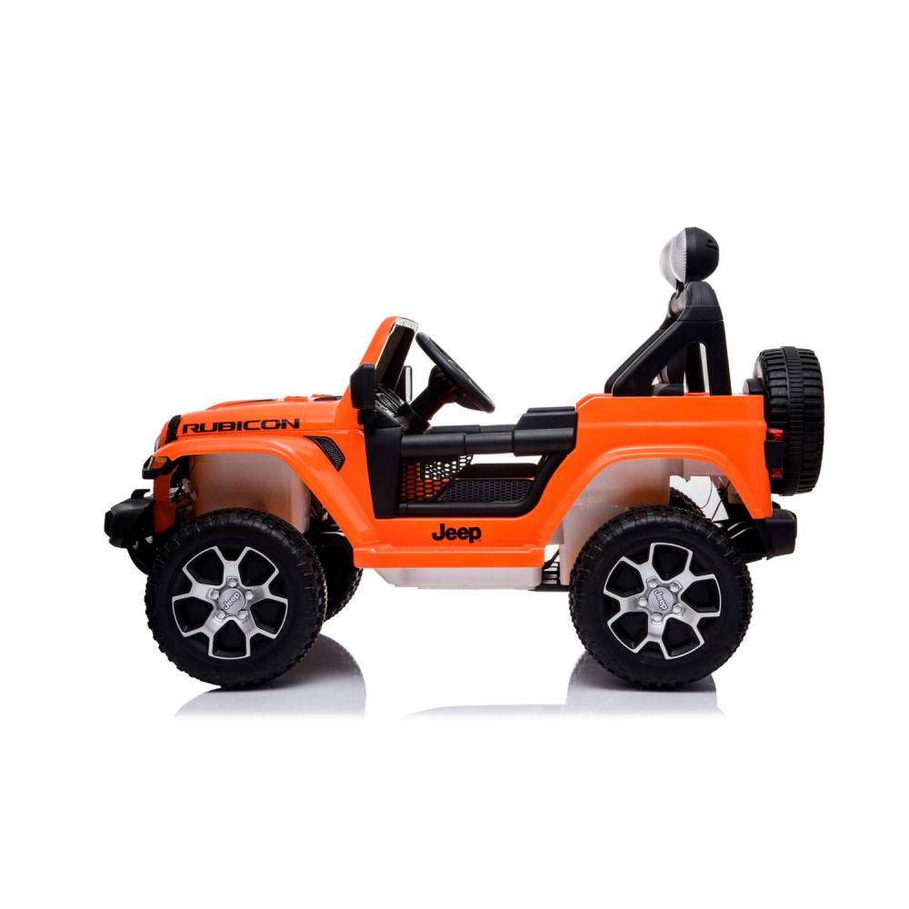 Masinuta electrica Jeep Wrangler Rubicon Portocaliu 4x4 cu telecomanda si scaun piele