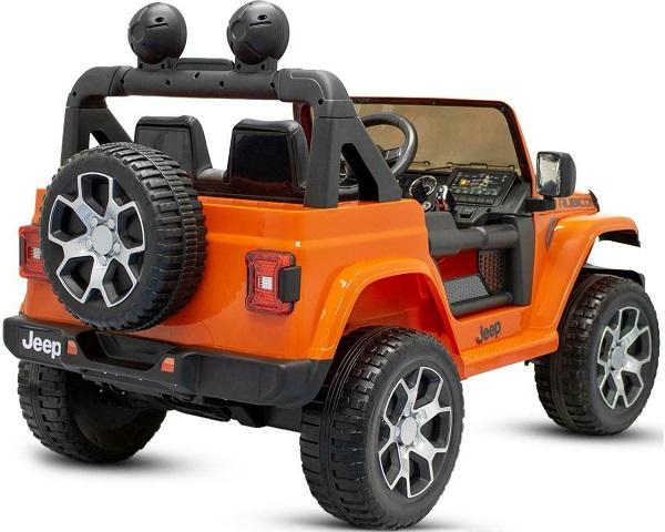 Masinuta electrica Jeep Wrangler Rubicon Portocaliu 4x4 cu telecomanda si scaun piele - 1