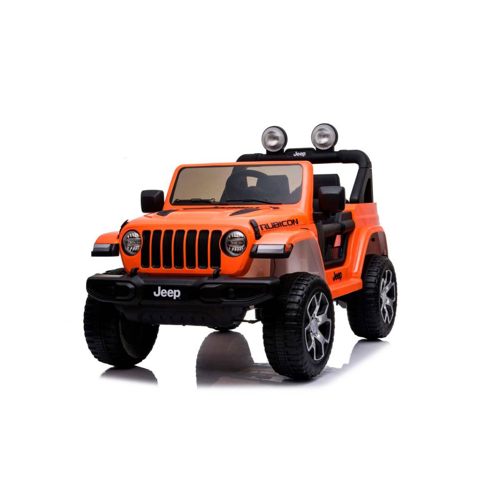 Masinuta electrica Jeep Wrangler Rubicon Portocaliu 4x4 cu telecomanda si scaun piele - 2