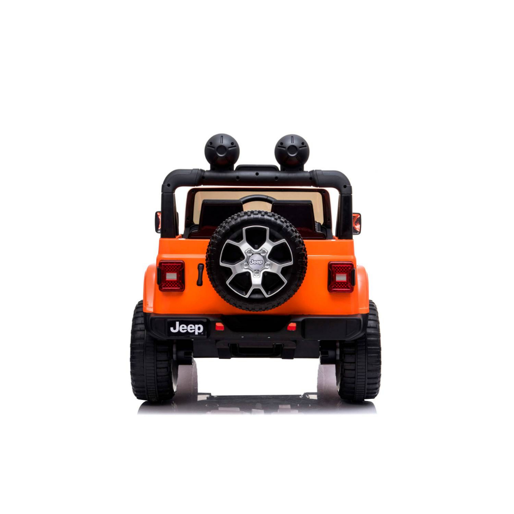 Masinuta electrica Jeep Wrangler Rubicon Portocaliu 4x4 cu telecomanda si scaun piele - 3