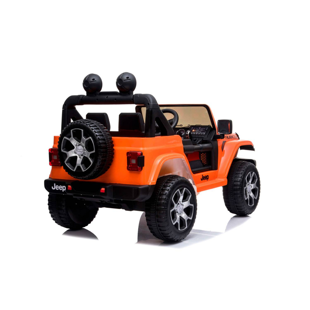 Masinuta electrica Jeep Wrangler Rubicon Portocaliu 4x4 cu telecomanda si scaun piele - 4