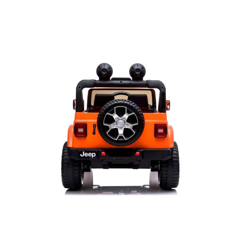 Masinuta electrica Jeep Wrangler Rubicon Portocaliu 4x4 cu telecomanda si scaun piele - 5