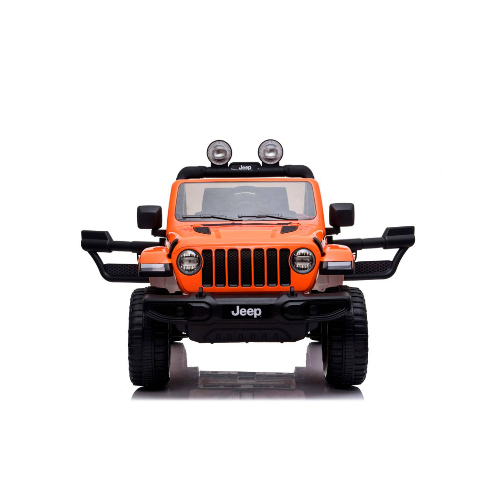 Masinuta electrica Jeep Wrangler Rubicon Portocaliu 4x4 cu telecomanda si scaun piele - 6