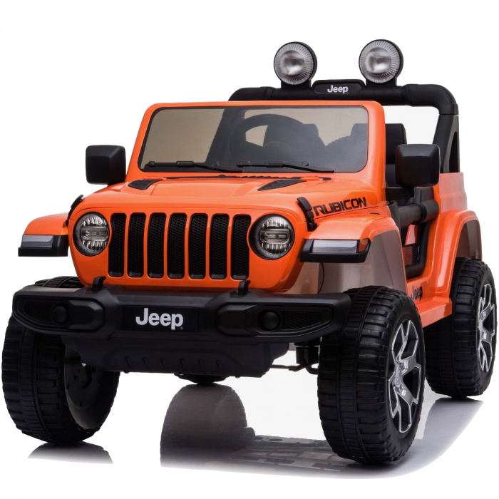 Masinuta electrica Jeep Wrangler Rubicon Portocaliu 4x4 cu telecomanda si scaun piele - 7