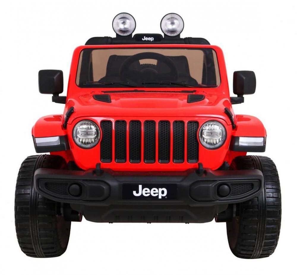 Masinuta electrica Jeep Wrangler Rubicon Rosu 4x4 cu telecomanda si scaun piele - 3