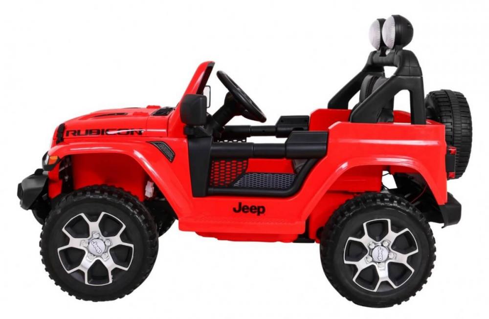 Masinuta electrica Jeep Wrangler Rubicon Rosu 4x4 cu telecomanda si scaun piele - 4