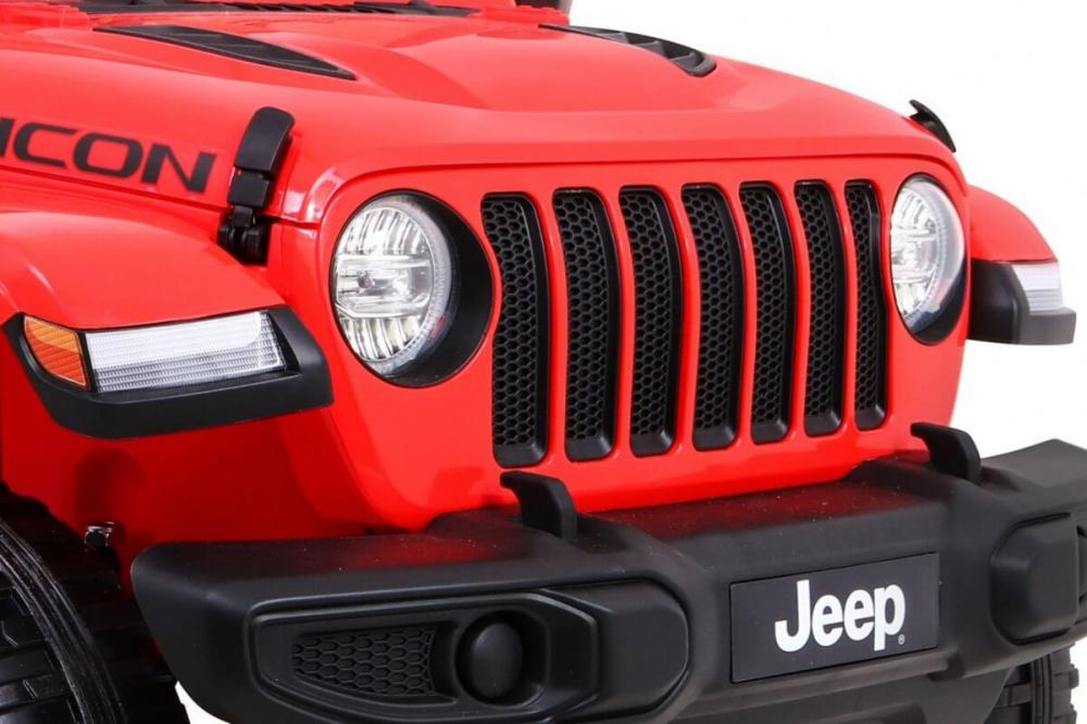 Masinuta electrica Jeep Wrangler Rubicon Rosu 4x4 cu telecomanda si scaun piele - 5