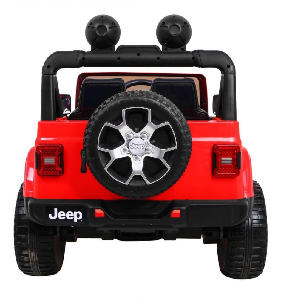 Masinuta electrica Jeep Wrangler Rubicon Rosu 4x4 cu telecomanda si scaun piele - 6